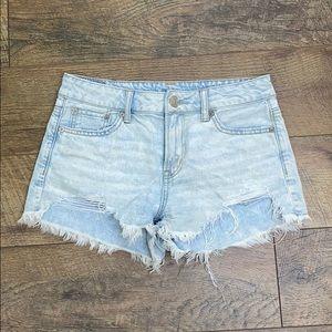 AEO acid wash distressed denim jeans shorts, 0